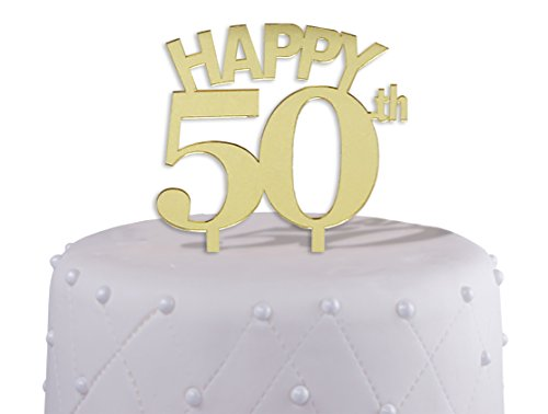 Gold 50th Cake Topper Acrylic With Mirrored Finish Birthday Or Wedding Anniversary