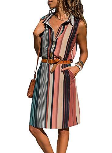 Sidefeel Women Striped Button Down V Neck Shirt Mini Dress with Belt