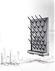 Lab Supply Drying Rack, Pegboard Bench-top/Wall-Mount Laboratory Glassware 52/27 Detachable PegsLab Drying Draining Rack Cleaning Equipment (27 Pegs, Black, 1)