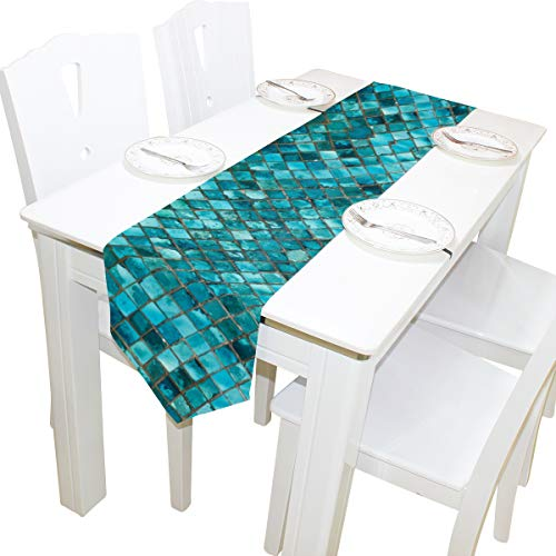 WOOR Double-Sided Teal Turquoise Blue Print Table Runner 13 x 70 Inches Long,Table Cloth Runner for Wedding Party Holiday Kitchen Dining Home Everyday Decor