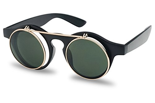 Round Flip Up Hipster Steam Punk Rockstar Circle Vintage Matte Black Style Sunglasses w/ Clear Lens Glasses
