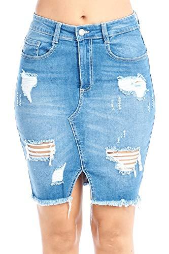 - Women's Classic Cotton High-Rise Denim Jean Casual Basic Distress Frayed Asymmetrical Hem Midi Skirt (Large, Light Blue)