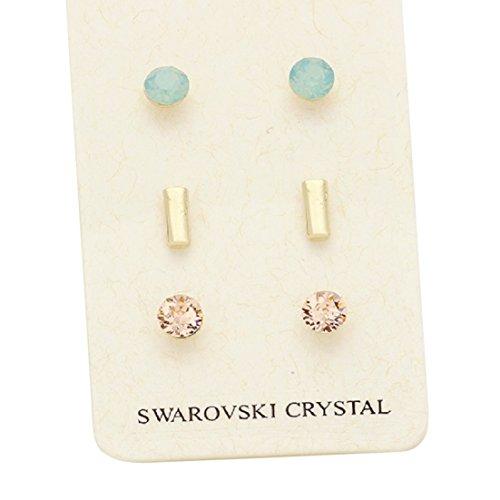 Crystal Stud Metal (Rosemarie Collections Women's Swarovski Crystal Stud Earring Set (Metal Bar))