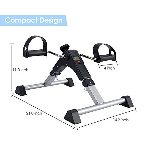 SYNTEAM Foldable Pedal Exerciser with LCD monitor bike exercise machine for Seniors-Fully Assembled, No Tools Required(Black) by Synteam (Image #5)