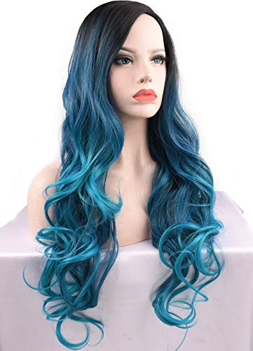 SEIKEA Long Wavy Hair Blue Ombre Wig for Women Cosplay Costume Synthetic Hairpiece Rooted No Bang Side Part 30 Inch ()