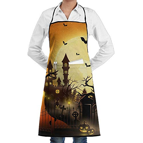 Creepy Tomb with Castle and Pumpkin Adjustable Unisex Bib Apron with 2 Pockets Lock Edge Garden Apron Chef Apron Cooking Baking Kitchen Pinafore Aprons for Men Women]()