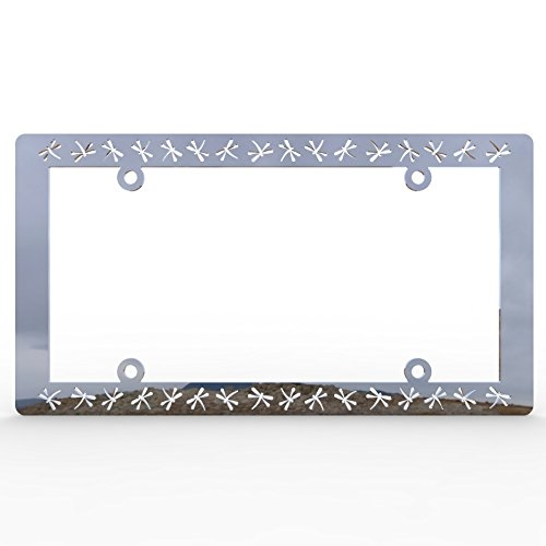 (Ferreus Industries Polished Stainless Chrome Car Truck License Plate Frame Dragonfly Dragon Fly Dragonfly - 1 Piece LIC-103)