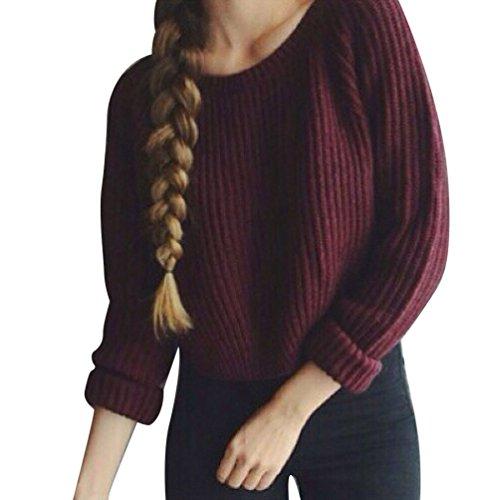 WanYang Suéter Tejido Jerseys Pullover Mujer Manga Larga Redondo Cuello Prendas De Punto Sweater Señoras Tops Vino Rosso