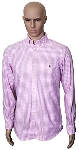 RALPH LAUREN Men's Classic Fit Pocket Oxford Button Up Shirt (Large, Pink)
