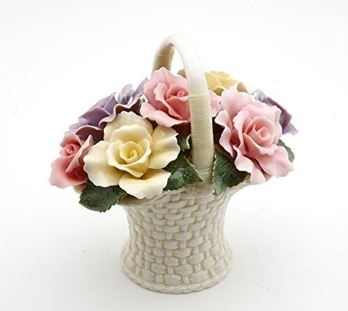 Cosmos 10228 Fine Porcelain Rose Flower Basket Figurine, 4-3/8-Inch