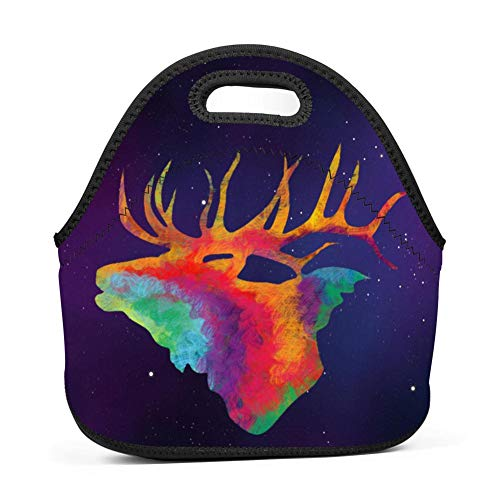 Elk Arches - Colorful Elk Painting Lunch Bag Waterproof Bento Tote Bag Picnic Bag with Zipper for Children Adult
