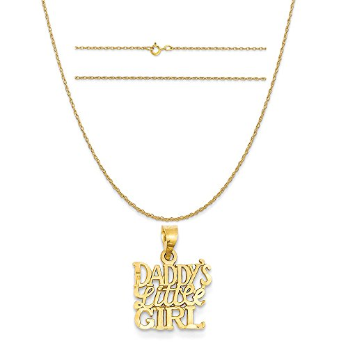 14k Yellow Gold Daddy's Little Girl Charm on a 14K Yellow Gold Carded Rope Chain Necklace, 20