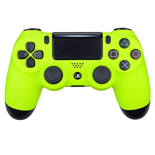 Housing Yellow - eXtremeRate Soft Touch Grip Front Housing Shell Faceplate for Playstation 4 PS4 Slim PS4 Pro Controller (CUH-ZCT2 JDM-040 JDM-050 JDM-055) (Lime Yellow)