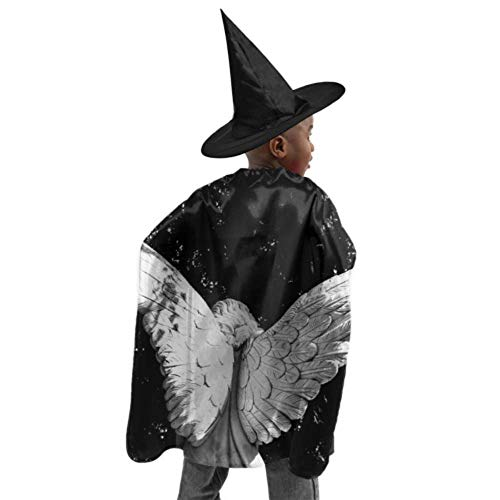Cemetery Angel Halloween Costume (DKGFNK Angel Wing Angel Wings God Religion Cemetery Hooded Cloaks Kids Cape Cloak Witch Cloak and Hat Dress Up for Halloween Birthday)
