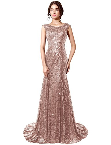 db237a79981a ... Women s Cap Sleeve Sequin Long Prom Dresses Mermaid Evening Gowns Rose  Gold US14.   