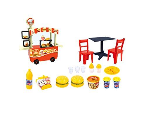 PlayMarket Plastic Mini Fast Food Stand Cart Pretend Play Toy Playset, 18 Piece