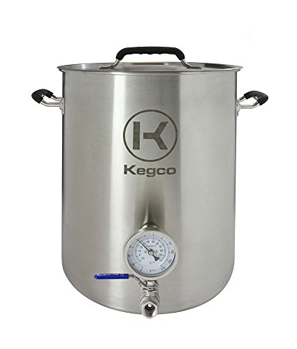 Kegco 8 Gallon Brew Kettle with Thermometer & 2-Piece Ball Valve