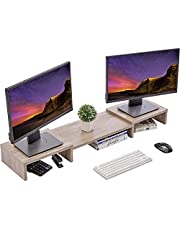 Superjare Updated Monitor Stand Riser, Adjustable Screen Stand for Laptop Computer/TV/PC, Multifunctional Desktop Organizer - Cream Gray