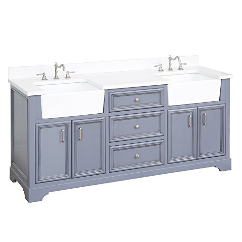 41M4mXJCT%2BL - Zelda 72-inch Double Bathroom Vanity (Quartz/Powder Gray): Includes a Quartz Countertop, Powder Gray Cabinet with Soft Close Doors & Drawers, and White Ceramic Farmhouse Apron Sinks