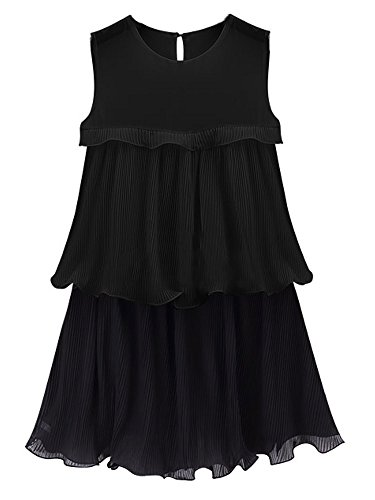 Dress Women Solid Sleeveless Color Black Pleated Chiffon Ruffles Casual Mini O6xn77