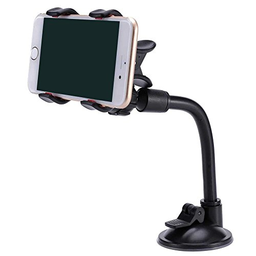 FlexiPhone Holder | Premium ABS Adjustable Flexible Double Clip Car Phone Holder with Soft PVC Silicone Pad and Suction Cup, 360 Degrees Rotation, Superb for All Cell Phone Models