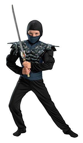 [Night Camo Ninja Classic Muscle Child Costume - Medium] (Muscle Ninja Warrior Costume)
