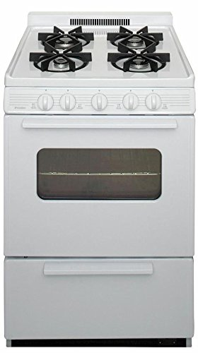Premier BJK5X0OP White ADA Compliant 24'' Cordless Battery Spark Gas Range with 3 Cu. Ft. Capacity Four Sealed Burners Cast-Iron Grates Windowed Oven Door and 1.5'' Porcelain by Premier
