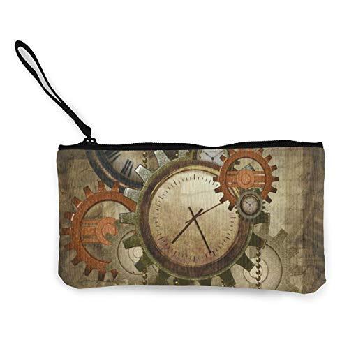 Retro Sawtooth Wall Clock Travel Makeup Bags Canvas Coin Purse Personalized Clutch Pouch Toiletries Organizer Bag (Monogram Sawtooth)