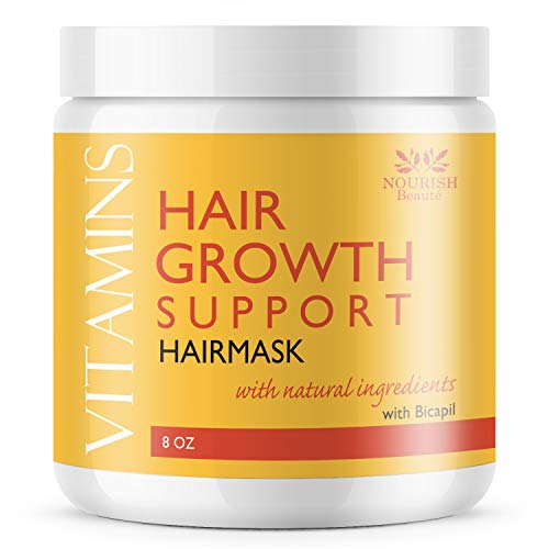 Nourish Beaute Vitamins Hair Mask for Deep Conditioning and Hydration on Dry Damaged Hair that Promotes Regrowth for Men and Women, 8 Ounces (Hair Masks That Make Your Hair Grow)