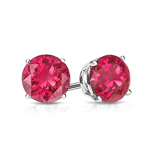 9mm Created Ruby Stud Earrings in 14k White Gold (4.5 CT. T.W.)