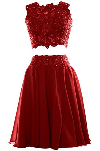 MACloth Women Two Piece Lace Chiffon Short Prom Dress Cocktail Party ...