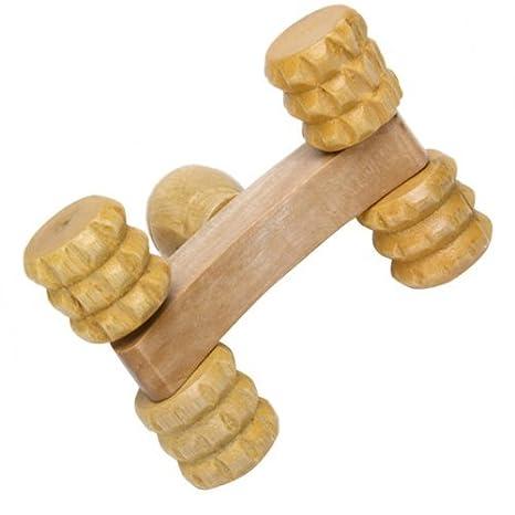 nalmatoionme de madera soporte de cuerpo masajeador Rolling masajeador con 4 ruedas: Amazon.es: Hogar