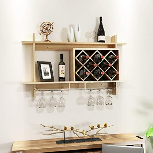 - Simple European Wall Hanging Wine Rack Wine Cabinet Suspension Trellis Wine Rack Creative Wall Shelf Wine Compartment Storage Rack (Color : Walnut color)