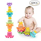 Yansion Toddler Stacking Cups Baby Bath Bathtub Water Playing Non-toxic Material Octopus Rain Early Educational Toy