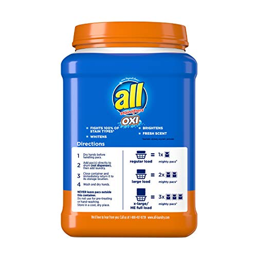 all Mighty Pacs Laundry Detergent, 4 in 1 with OXI, Tub, 60 Count, Pack of 2, 120 Total Loads