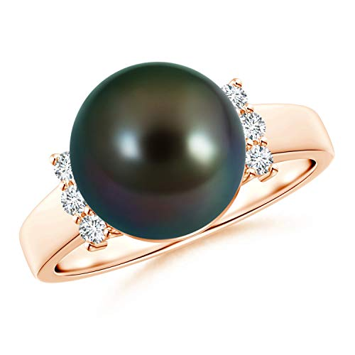 Tahitian Cultured Pearl and Diamond Collar Ring in 14K Rose Gold (10mm Tahitian Cultured Pearl)