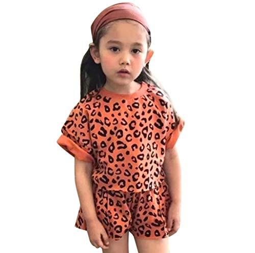 Mysky Fashion Women Kids Baby Sweet Leopard T-Shirt ops+Shorts Cotton Outfits Set Orange