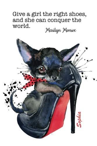 Sophia: Custom Name Journal | Dog in Shoe | Marilyn Monroe Quote