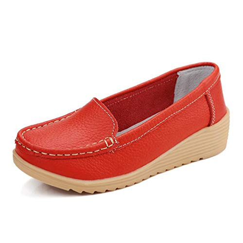 Women's Low Wedges Flats Shoes Non Slip Leather Loafers Comfortable...