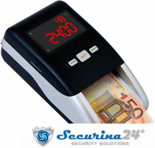 Geldprüfer Geldprüfgerät Banknotenprüfer Geldscheinprüfer SR-2100 von Securina24® (schwarz - silber - 1080 gr)