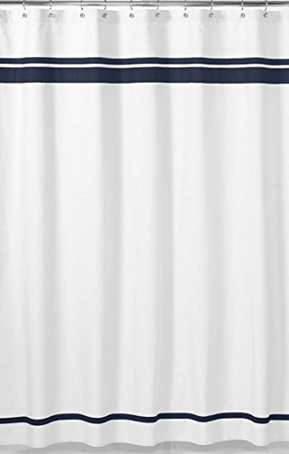 White and Navy Hotel Kids Bathroom Fabric Bath Shower Curtai