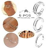 Besteel 6Pcs Anklets Toe Ring Set for Women Girls Ankle Chains Bracelets Cuff Toe Ring Adjustable