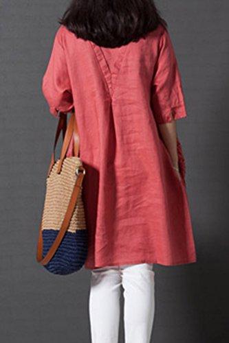 Tunique Lin Femmes Rond Orange Broder Robe Vintage Occasionnels Robes col Zilcremo Coton p54qfw