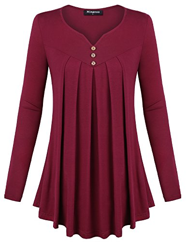 Miagooo Long Sleeve Tunic Blouse, Long Sleeve Scoop Neck Curved Hem A Line Ruched Tunic Tops(Wine,Medium) by Miagooo
