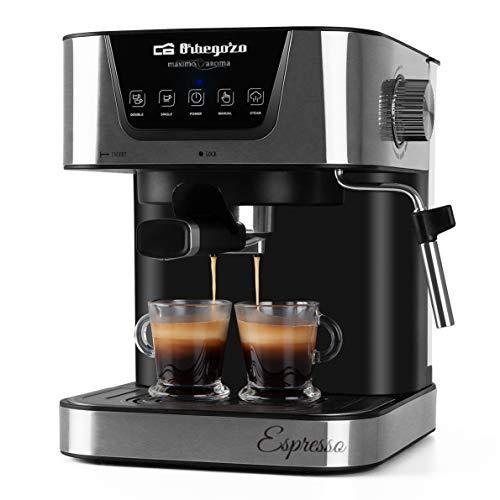 Orbegozo EX 6000 – Cafetera para espresso y cappucino, 20 BAR de presión, depósito 1,5 L, apta para monodosis, 1050 W de…