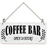 Coffee Bar Open 24 Hours Wood Sign,12x6 Inch Wall Decor Home Decor Wood Plaque Sign Hanging Fashion Antique