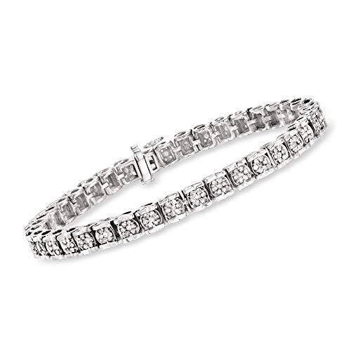 Ross-Simons 2.00-2.15 ct. t.w. Diamond Cluster Tennis Bracelet in Sterling Silver