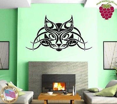 Wall Stickers Vinyl Decal Cat Pet Animal Tribal Tattoo Lynx ig757