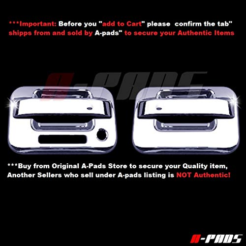 (A-PADS 2 Chrome Door Handle Covers for Ford F150 2004-2014 - WITH Keypad & WITHOUT Passenger Keyhole)