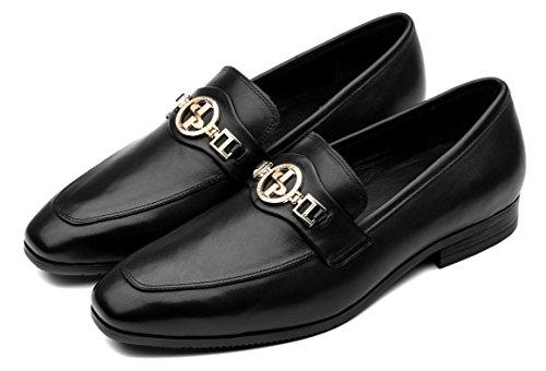 Mens Mode Skor Slip-on Läderklänningen Skor Design Svart